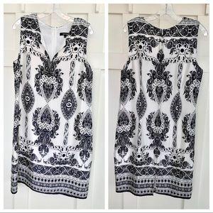 Karen Kane Black and White Scarf Print Midi Dress